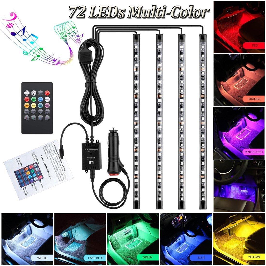Car LED Strip Light for Cars,72 LED Car Interior Lights 12V Multicolor RGB Interior Car Atmosphere Neon Lights Under Dash Lighting Kit with Music Sound Active Wireless Remote Control, (12V- 72 LEDs)