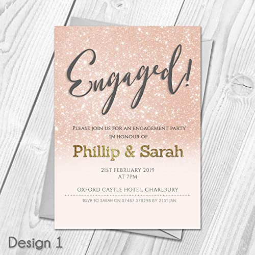 Personalised Engagement Party Invitations Thank You Cards Amazon