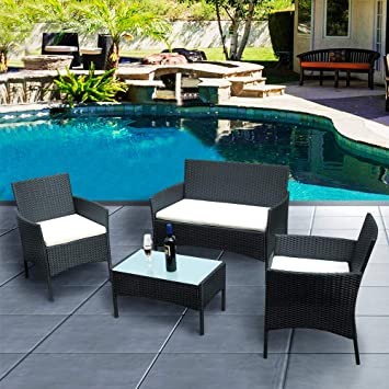 Anaelle Panana Ensemble Table en Verre + 3 Chaises en Rotin PVC Moderne  -Imperméable à l\'eau -Résistant aux Rayons UV pour Jardin, Balcon,  Terrasse, ...