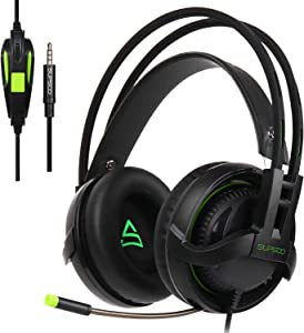 [Xbox One,PS4 Stereo Gaming Headset] SUPSOO G810 Gaming Headphones for New Xbox One, PS4 Controller,3.5mm Wired Over Ear Noise Cancelling with Mic & Volume Control & Bass Surround for Mac/PC/Laptop