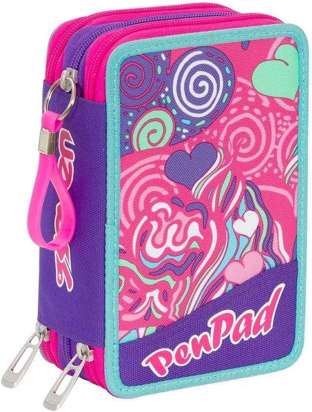 Estuche escolar completo con 3 cremalleras Seven Fantasy Penpad violeta rosa: Amazon.es: Oficina y papelería