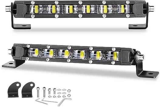 Single Row LED Light Bars, Nirider 2PCS 60W CREE 8 Inch Slim LED Pods Flood LED Fog Lights Off Road Driving Lights Work Lights Backup Lights for Trucks Car ATV UTV Motorcycle