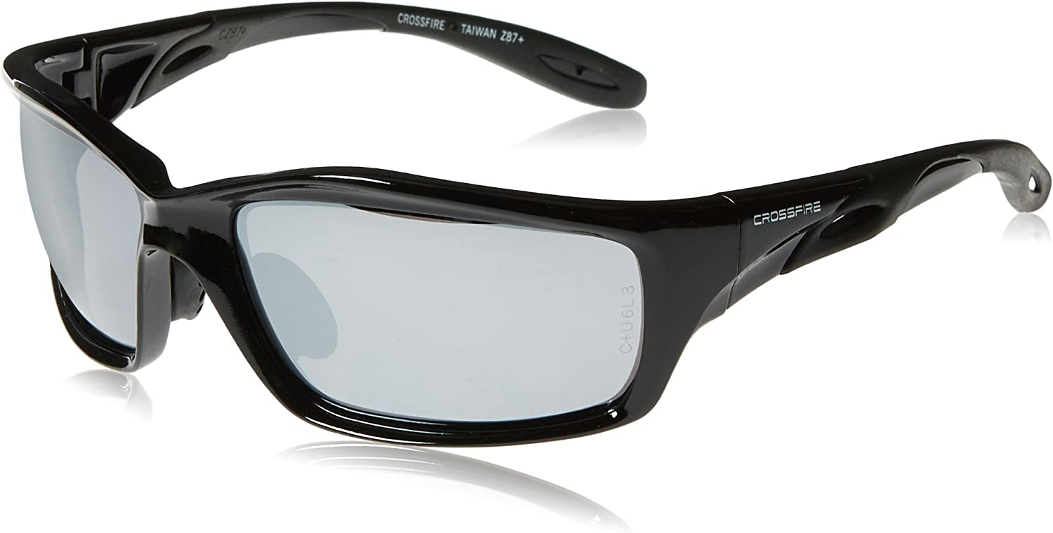 Crossfire 263 Infinity Premium Safety Glasses, Silver Mirror Lens - Shiny Black Frame : Sports & Outdoors