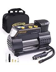 AUTLEAD Compresor Aire Coche C2, 12V Auto Inflactor Ruedas Coche Embalado, Inflador Electrónico con Manómetro Digital, 3 Posiciones Luz, Cable Extenso, 4 Adaptadores de Válvulas
