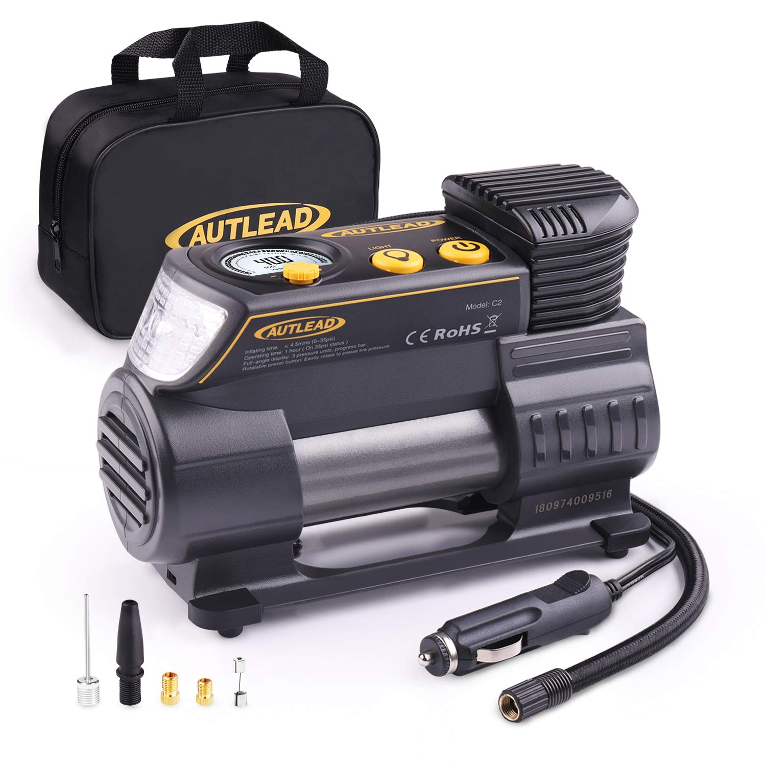 AUTLEAD Tire Inflator, 12V Portable Air Compressor - Compact Auto Tire Pump 120PSI with Digital Gauge, Emergency Light, Fast Inflating for Car, Bicycle, Ball, Balloon - C2