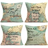 Asamour Geography Quotes Theme Throw Pillow Covers Compass Map Art Lettering Throw Pillow Cushion Cover Protector Home…