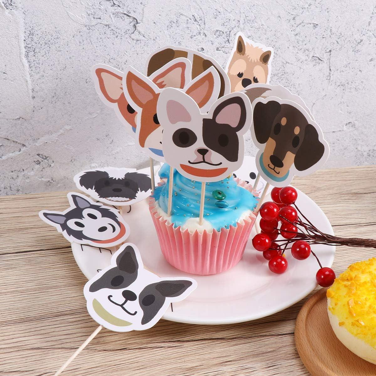 Happyyami Topper per Torte Animali Cake Cupcake Topper Forma Cani Decorazioni per Torte per Compleanno Matrimonio Battesimo 32 Pezzi