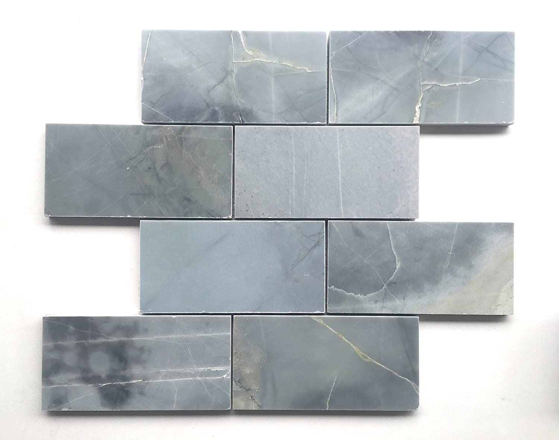 Genoa Blue 3x6 Polished Marble Tile Backsplash Wall Floor Amazon
