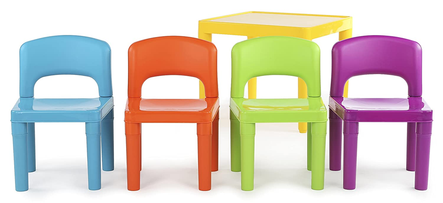 Amazon.com: Tot Tutors Kids Plastic Table And 4 Chairs Set, Vibrant Colors:  Kitchen U0026 Dining