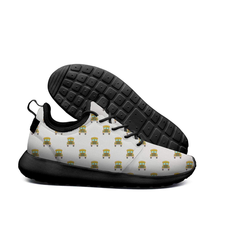 AKDJDS School bus pattern cartoon style white Running Shoe Sneakers Womens Shoes