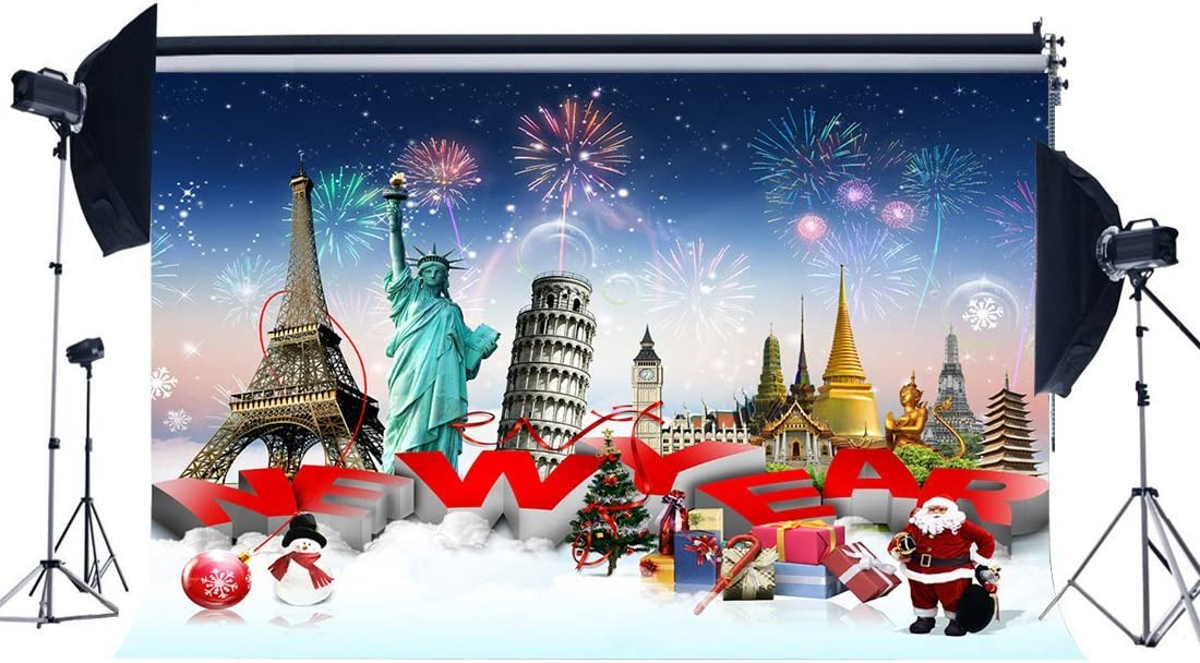 CSFOTO 14x10ft Happy New Year Backdrop Silver Reindeer Red Berry 2021 Background for Photography Christmas Party New Year Decor Banner Christmas Photo Wallpaper