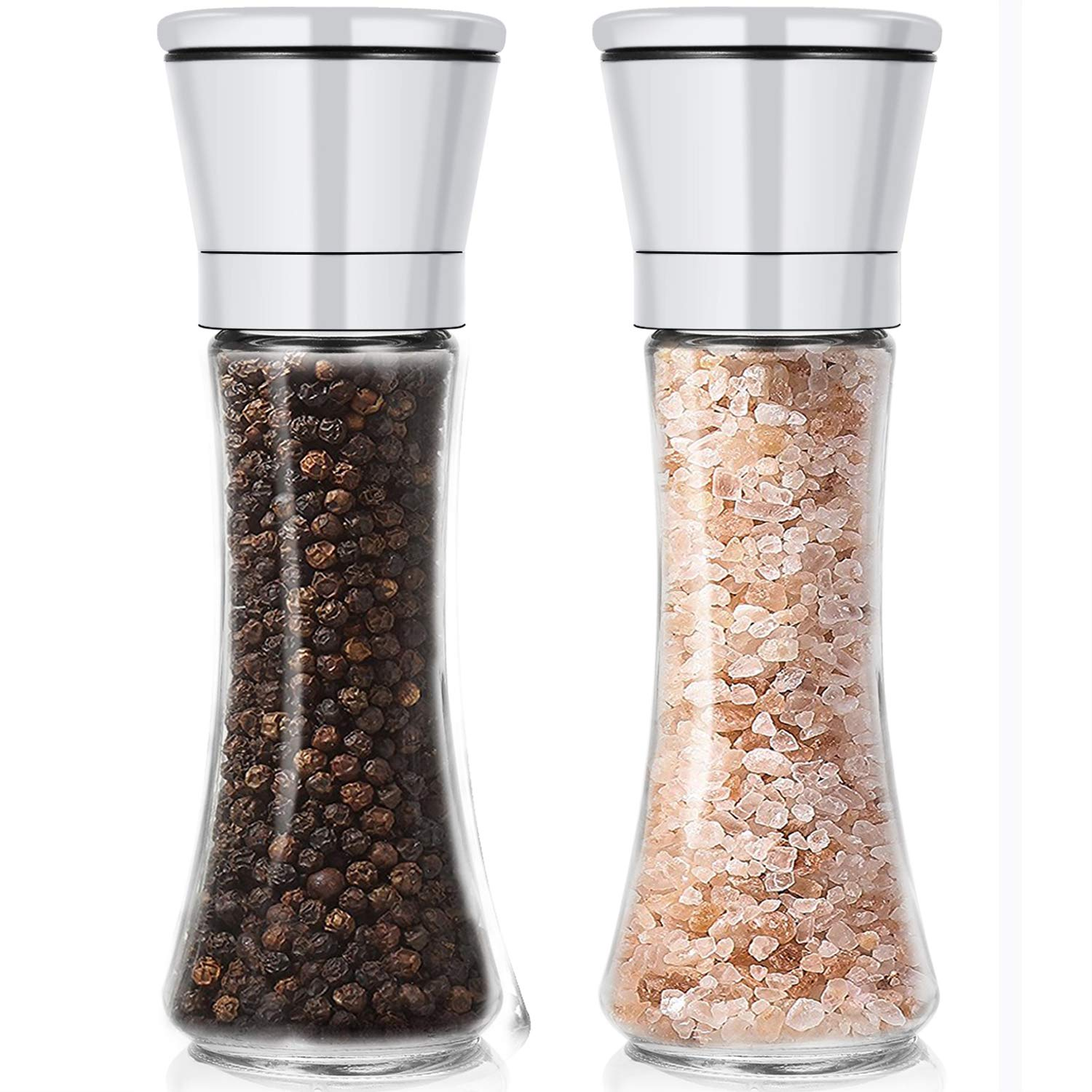 Manual Salt and Pepper Mill with Adjustable Coarseness - Salt and Pepper Grinder Set with High Premium Glass Bottle Strong Ceramic Rotors - Fully Removable and Easy to Clean