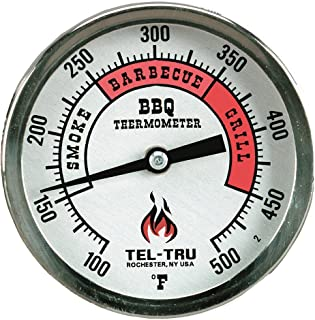 product image for Tel-Tru BQ300 Barbecue Thermometer, 3 inch Aluminum Zoned dial, 2.5 inch stem, 100/500 Degrees F