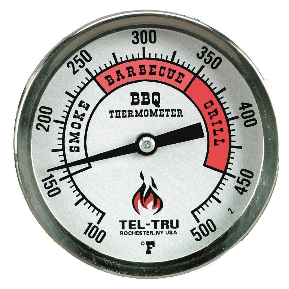 Tel-Tru BQ300 Barbecue Thermometer, 3 inch aluminum zoned dial, 2.5 inch stem, 100/500 degrees F
