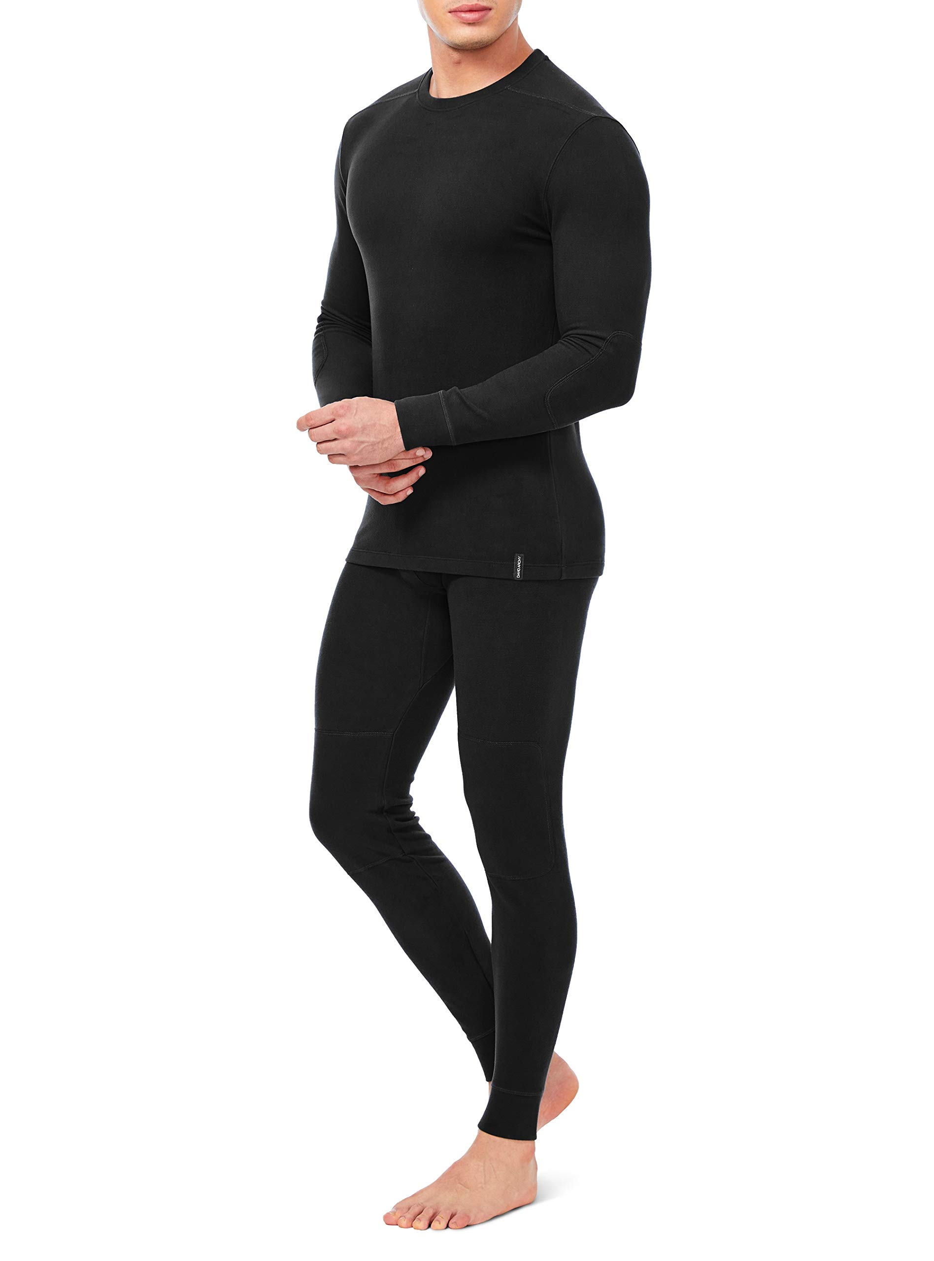 David Archy Men's Ultra Soft Winter Warm Base Layer Top & Bottom Fleece Lined Thermal Set Long John (M, Black) by David Archy