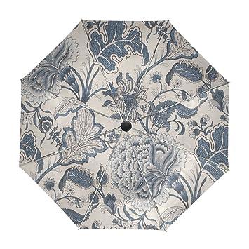 Mi Diario vintage de flores automático abrir/cerrar paraguas con Anti-UV resistente al