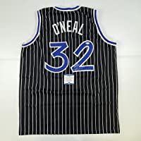 $199 » Autographed/Signed Shaquille Shaq O'Neal Orlando Black Pinstripe Basketball Jersey Beckett BAS COA