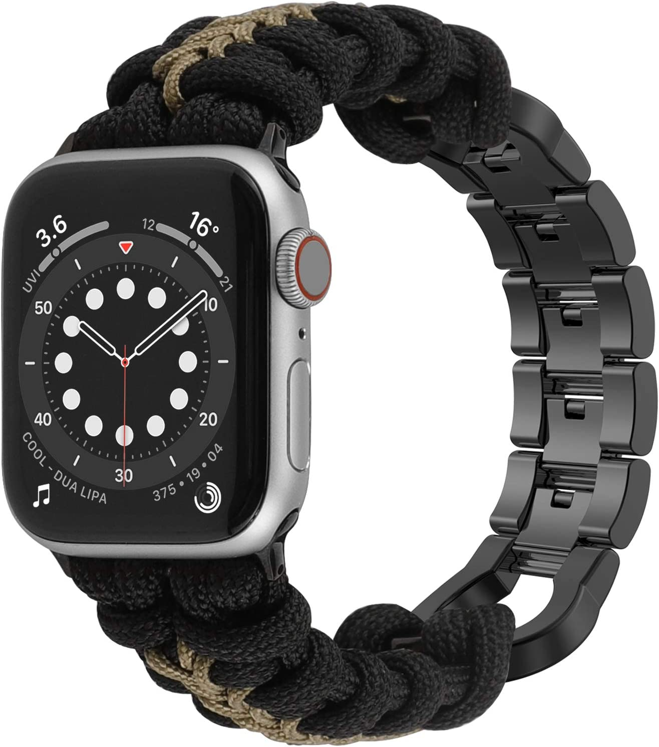 Moolia Paracord Band Compatible With Apple Watch 38mm 40mm for iWatch Series 6 5 4 3 2 1 SE, Men Handcrafted Braided Paracord Sport Replacement Strap With Stainless Steel Buckle, Black + Green