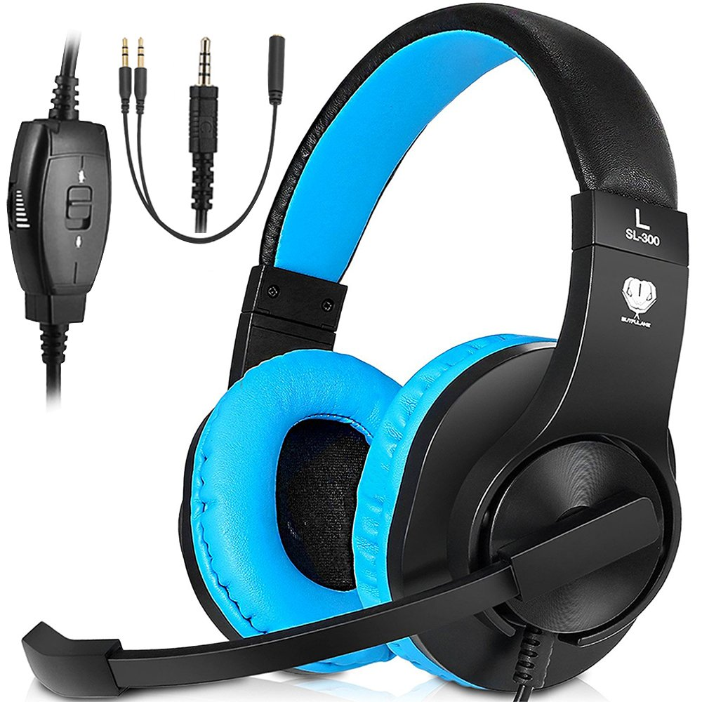 PC Stereo Gaming Headset, PS4, Xbox One Games Headphones with mic, Bass Surround, Volume Control, Noise Cancelling for Laptop, Controller, Mac(Blue) by Jicjocy