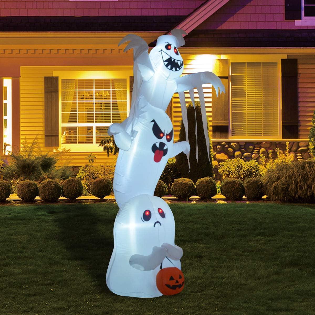 GOOSH 10 Foot High Halloween Inflatable Overlap Ghost Yard Decoration Indoor Outdoor Garden Halloween Decoration.