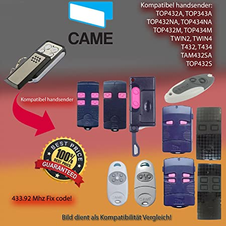 X2 CAME TOP432NA // TOP434NA Ersatz sender 433.92 MHz Kompatibel Handsender Fixed code