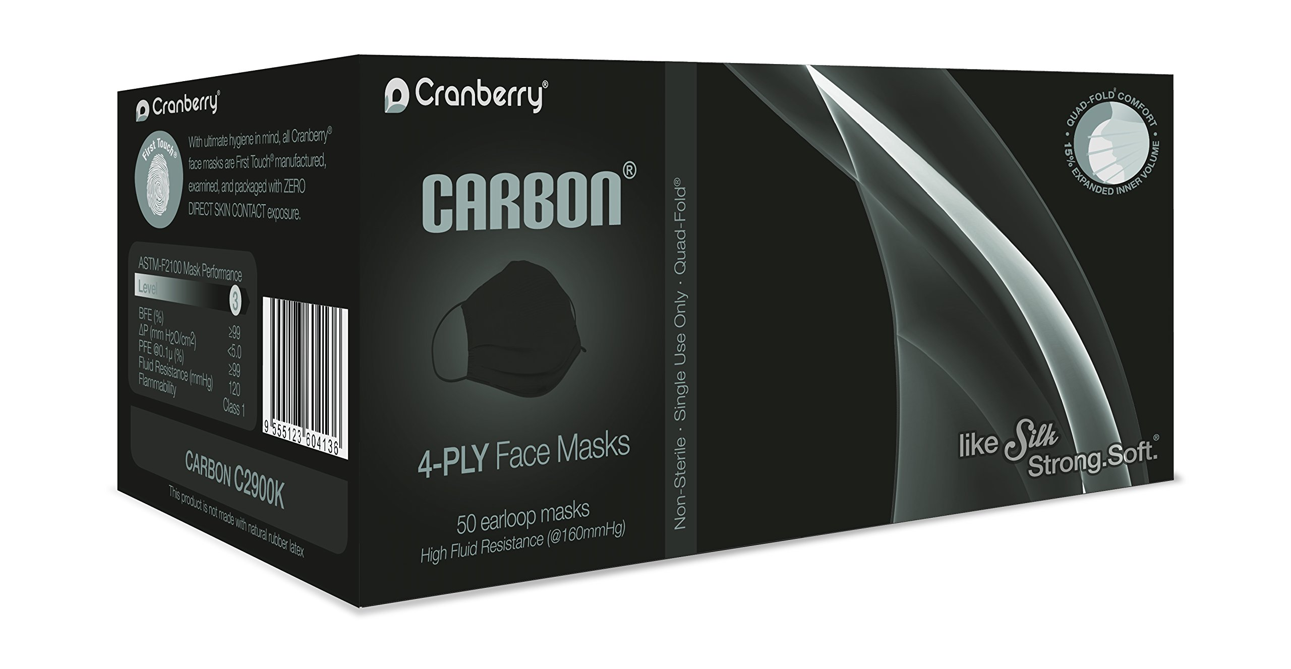 Cranberry USA C2900K Cranberry Carbon Earloop Face Masks, Atsm Level 3, Black (Pack of 50)