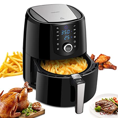 OMORC Air Fryer, 3.8QT Recipes Book Included Hot Air Fryer Oven Oil Free Cooker, 8 models, Knob Control and Digital Touch Screen, Non-Stick Interior, Detachable Dishwasher Safe Basket