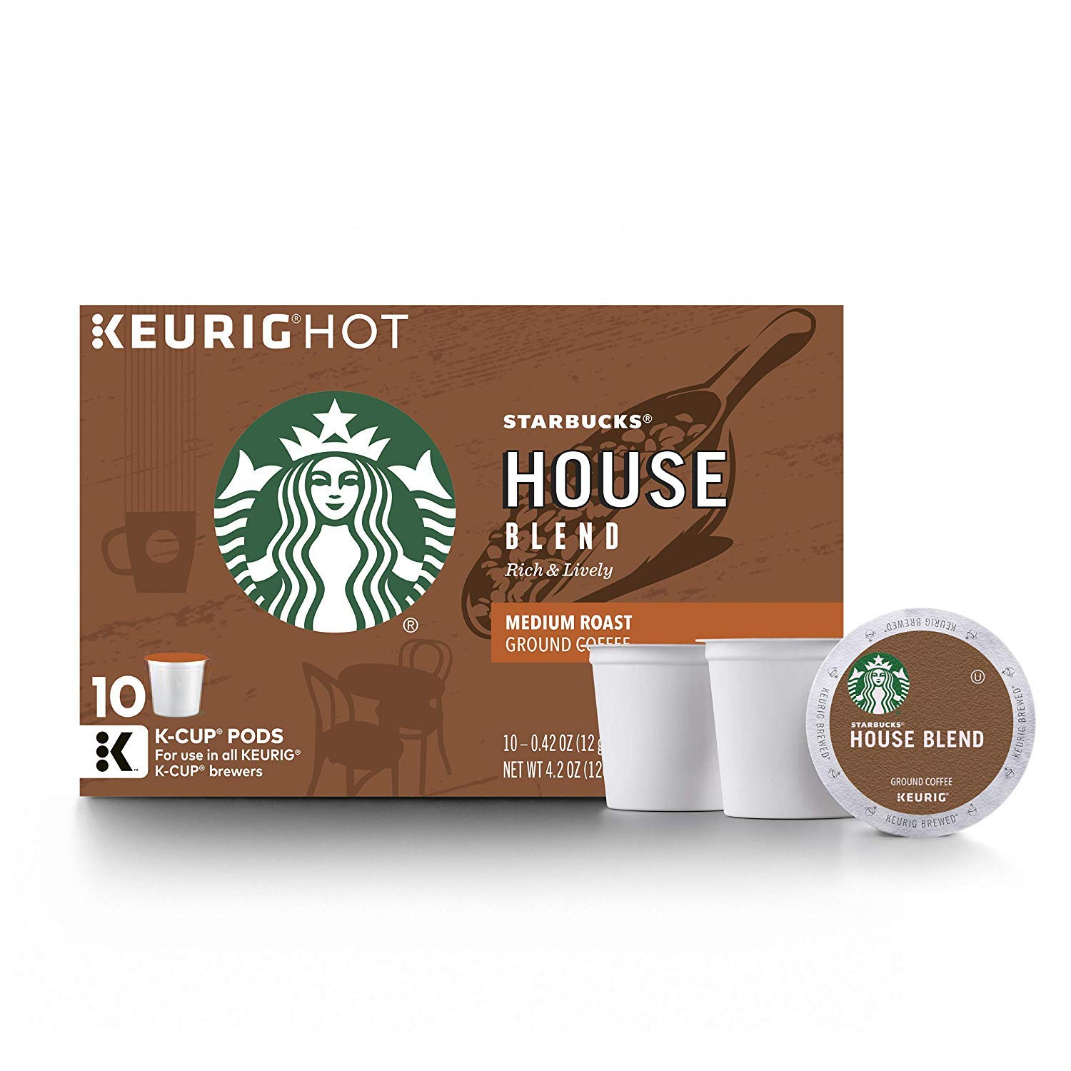 Starbucks Medium Roast K-Cup Coffee Pods — House Blend for Keurig Brewers — 6 boxes (60 pods total)