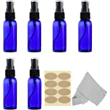 6 pack Blue Spray Bottles, 1 oz (30ml) Empty Plastic Fine Mist Sprayer with Labels and Microfiber Cleaning Cloth