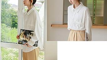 Mujer Camisa Blanca Recta de Manga Larga de Corte Clásico con Botones Casual: Amazon.es: Ropa y accesorios