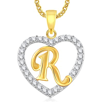 Amaal Gold Brass Valentine Gifts Heart R Alphabet Pendant With Chain For Women