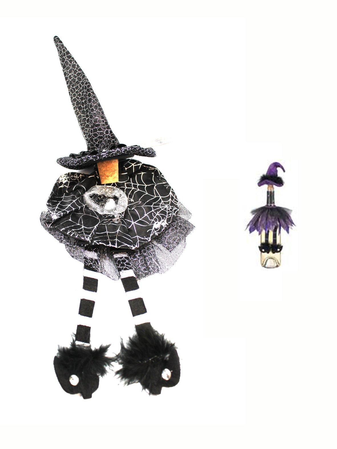 Witch Hat Cork Wine Bottle Decoration (Black & White) by Ganz