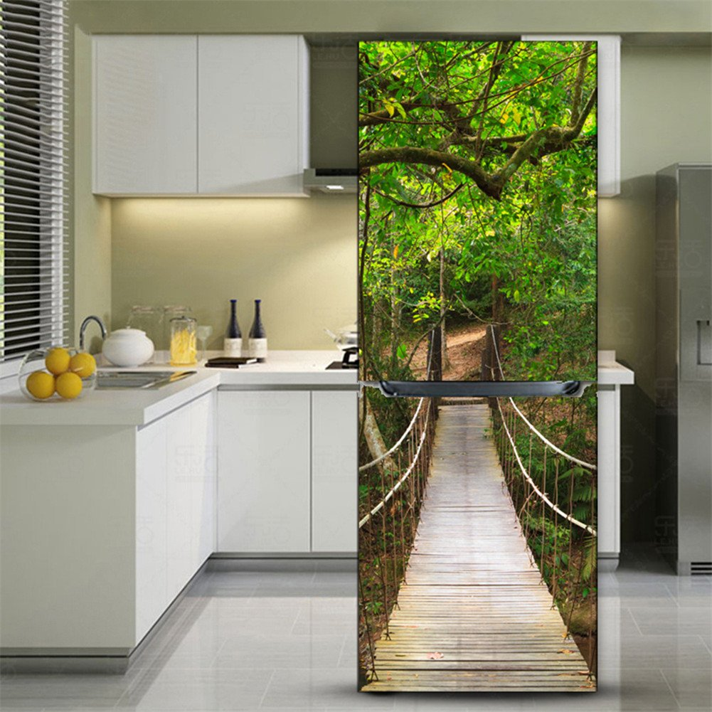 Kelai Craft Art Decor 3d Fridge Wallpaper Stickers Refrigerator Door Covers Decal Fridge Mural Decals Waterproof Forest Bridge Refrigerator Stickers