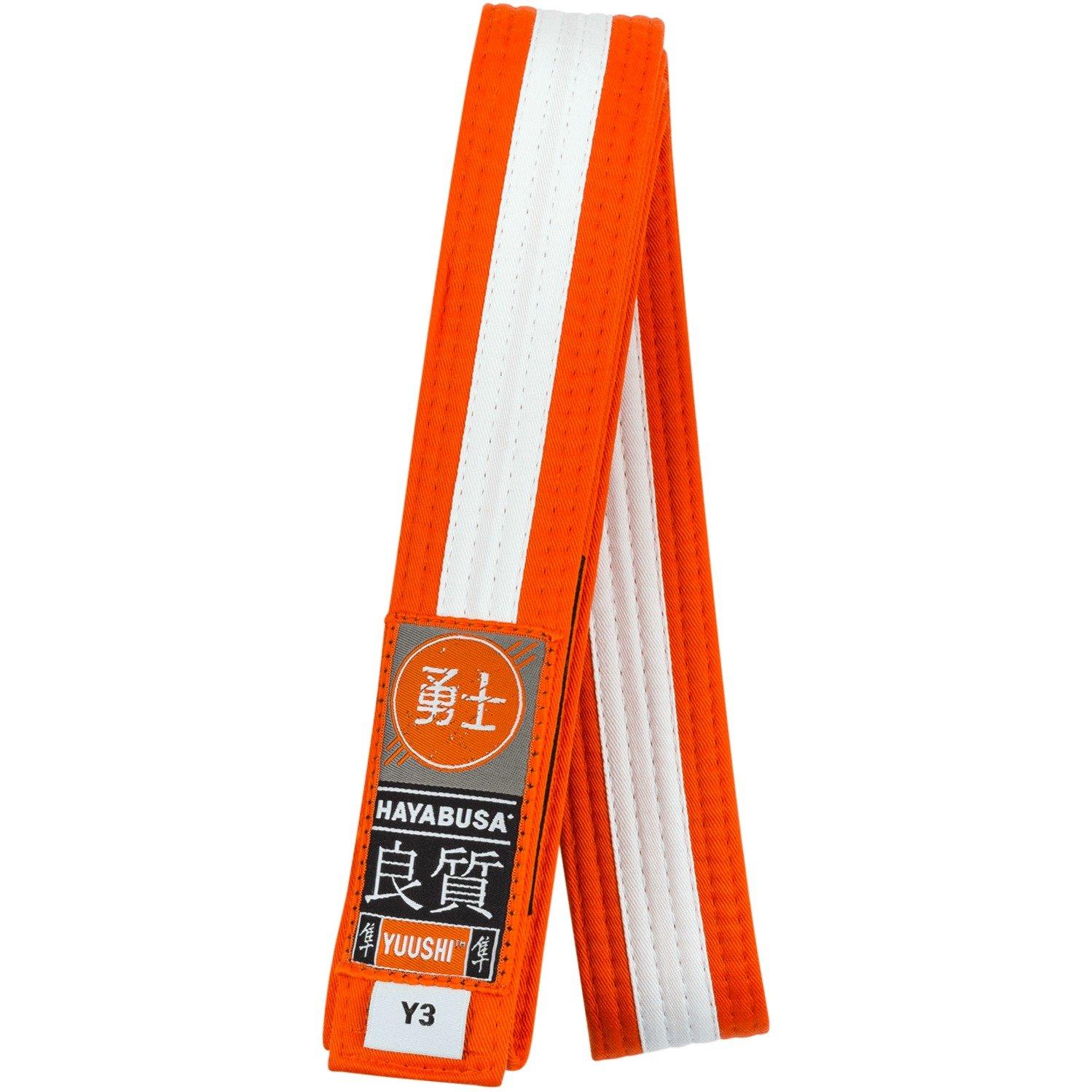 Hayabusa Cotton Youth Jiu Jitsu Belt, Orange w White Stripe, Y3 by Hayabusa