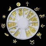 ミニチュアチャーム メタルパーツ ネイル レジン 封入 パーツ ゴールド ラウンドケース入り ゴールド(12種類×2個)24個セット ver.2