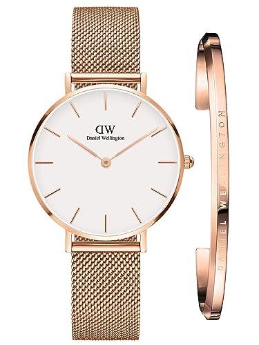 Daniel Wellington Classic Petite Geschenkset Melrose Uhr + Armreif Reloj de Cuarzo Oro rosá: Amazon.es: Relojes