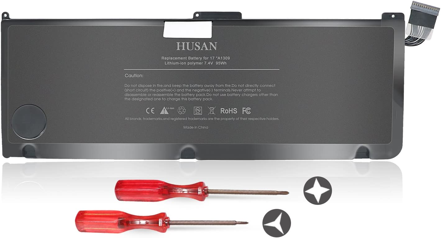 "HUSAN New A1309 Laptop Battery Compatible for MacBook Pro 17"" A1297 (Only fit Early 2009 Mid-2009 Mid-2010),fits MC226/A MC226CH/A MC226J/A 020-6313-C 661-5037-A"