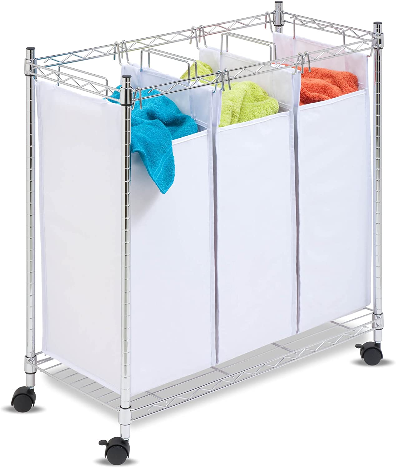 Honey-Can-Do Urban Triple sorter Rolling, Chrome/White