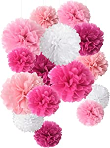 Tissue Paper Flowers Pom Poms Decorations 15 pcs of 8,10,14 Inch for Wedding Decor Birthday Celebration and Outdoor Decoration (Red)