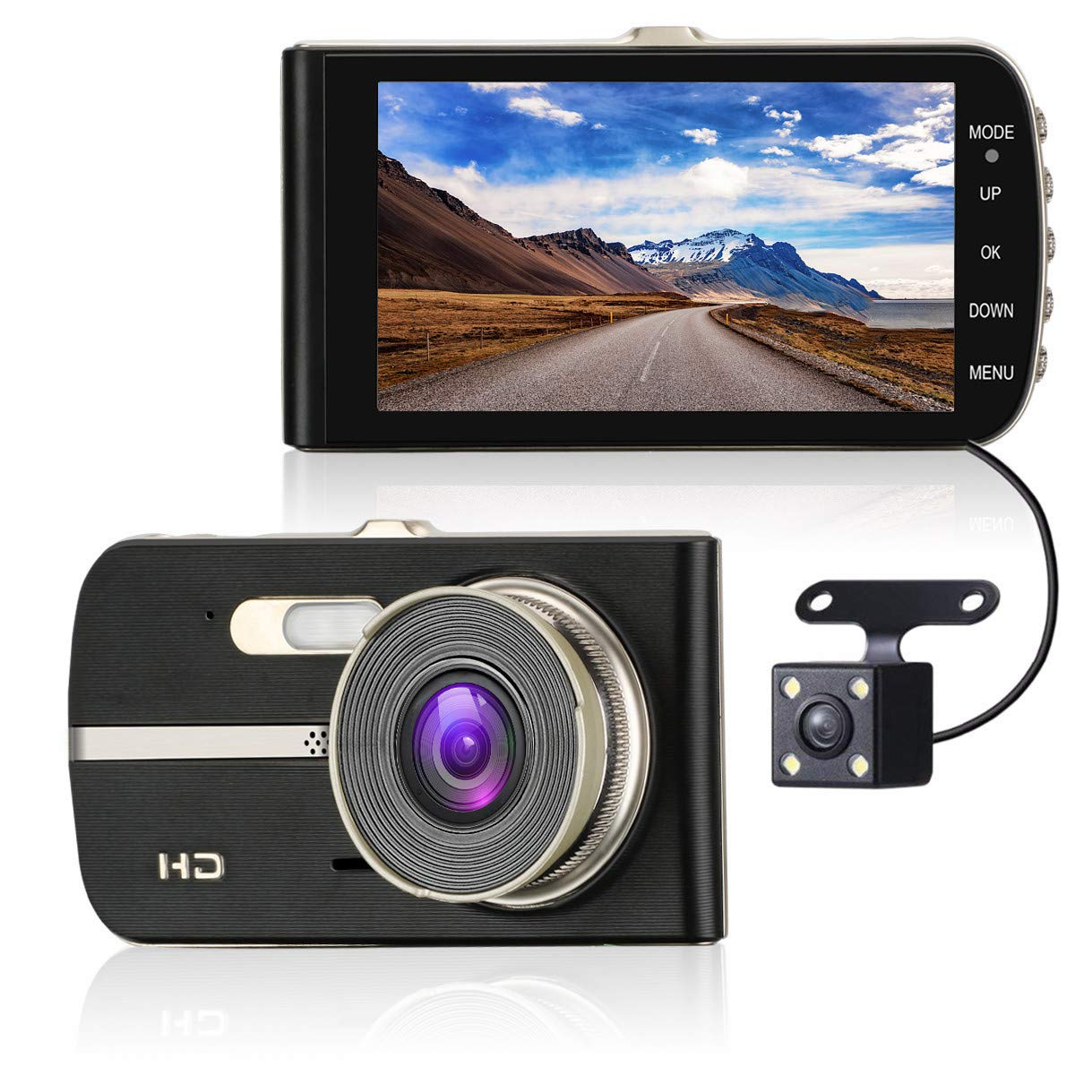 ULU FHD 1080P Car Dash Cam Front + Rear 290° Super Wide Angle Dual Channel Lens Car Dashboard Camera Recorder with 4.0' Large HD Screen, 16GB Card,G-Sensor, Loop Recording, WDR, Super Night Vision