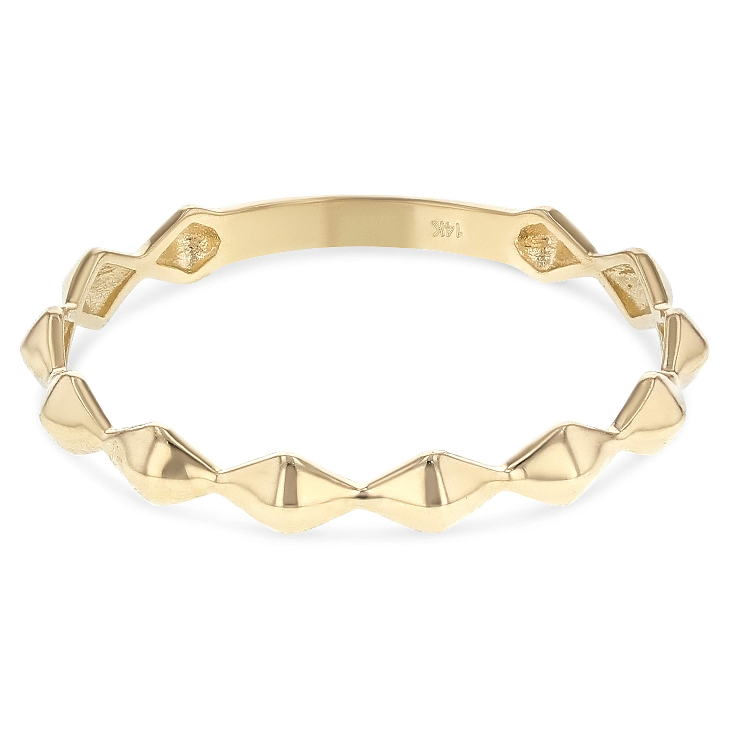Ioka -14K Solid Yellow Gold Modern and Trendy Diamond Shape Stackable Band Ring - size 4.5