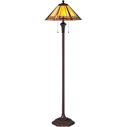 Quoizel TF1135F Arden Tiffany Floor Lamp, 2-Light, 200 Watts, Russet (60