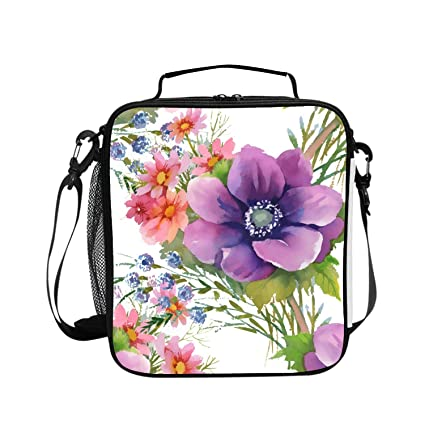 d13daff3388b Amazon.com - Levendem Square Insulated Lunch Tote Beautiful Floral ...