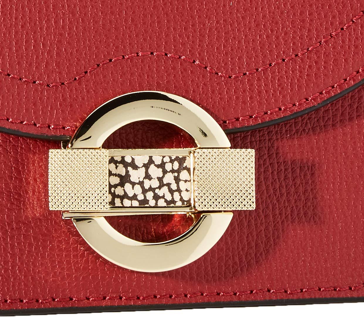Borbonese dam Tracolla liten axelväska, 16 x 11,5 x 9 centimeter Röd (pärla/Op naturlig)