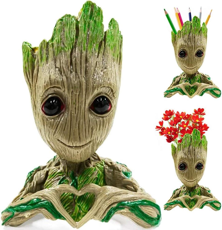 Flower Pot Tree Man Heart-Shaped Pens Holder with Drainage Hole Plant Flowerpot