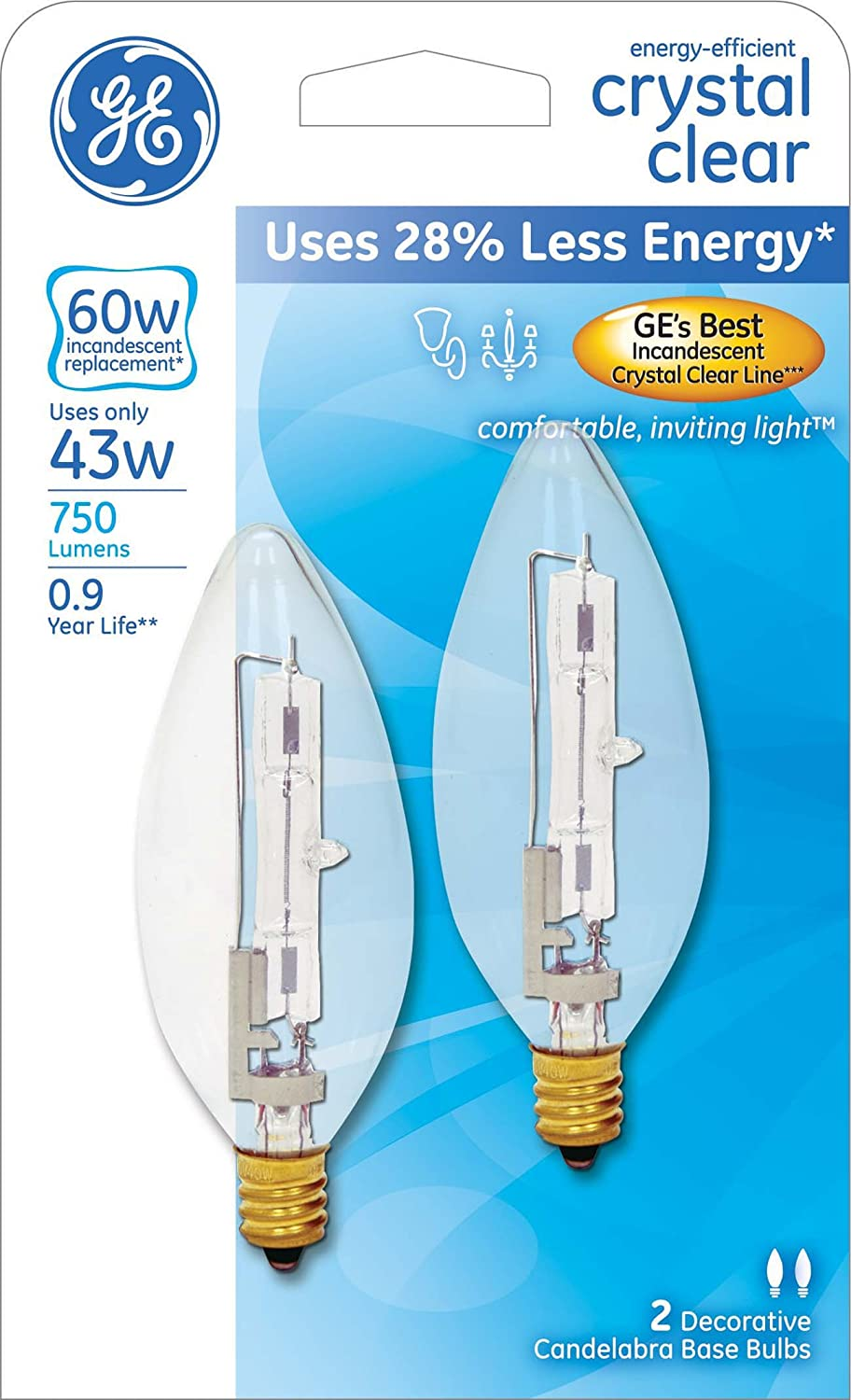 Ge lighting 60280 energy efficient crystal clear 60 watt 750 lumen ge lighting 60280 energy efficient crystal clear 60 watt 750 lumen blunt tip light bulb with candelabra base 2 pack amazon arubaitofo Gallery
