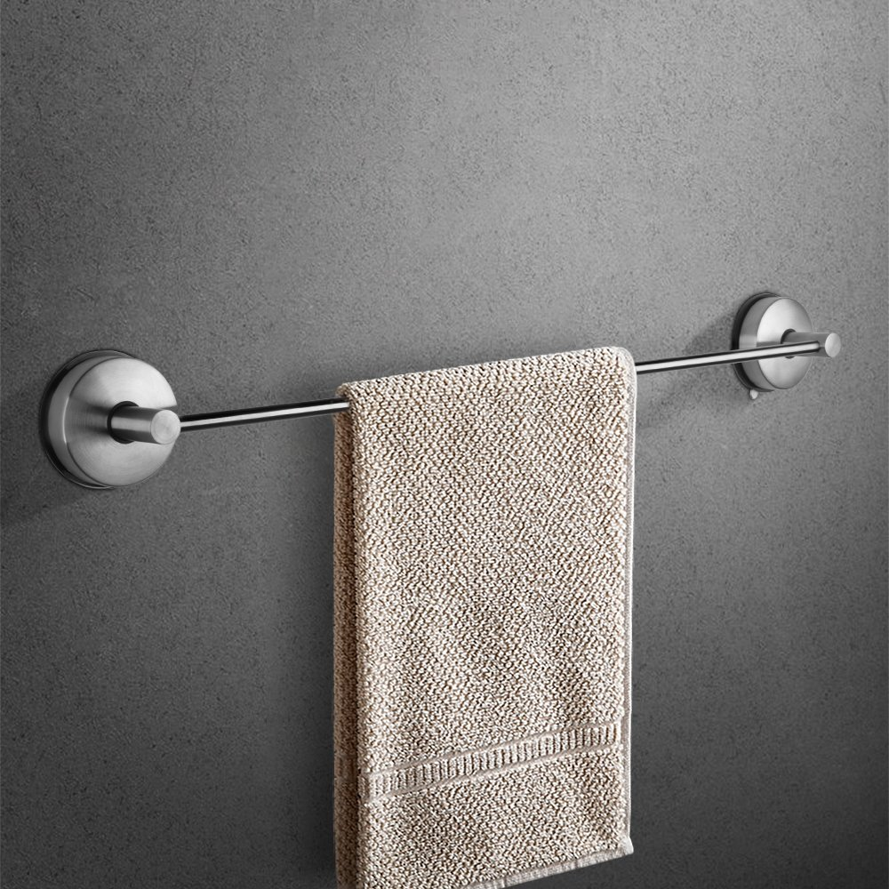 YOHOM 18.5-Inch Stainless Steel Vacuum Suction Cup Bathroom Accessory Towel Bar Rack Rail Hanger,Shower Hand Dish Towel Washcloth Holder Organizer Wall Mounted Kitchen Storage,Brushed Finish by YOHOM (Image #2)