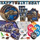 Jurassic World Dinosaur Fallen Kingdom Birthday Party Supplies Pack For 16 With Jurassic World Plates, Napkins, Tablecover, Cups, Birthday Banner, Balloons, Dinosaur Figurines, and Exclusive Pin