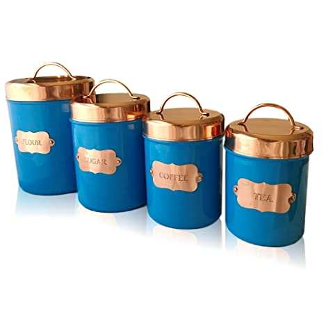 Copper Kitchen Food Canister Sets   Decorative Food Storage Jars With Lids    Made For Flour