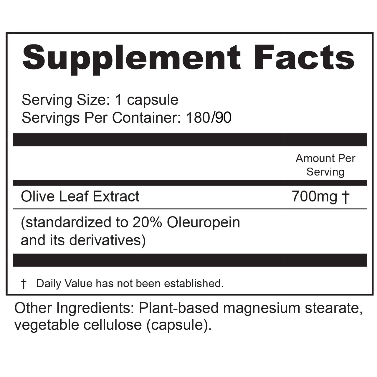 Olive Leaf Extract Extra Strength (800 mg) 180 count by BioActive Nutrients